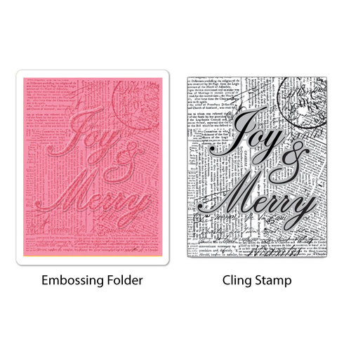 Sizzix - Stamp and Emboss - Hero Arts - Embossing Folder and Repositionable Rubber Stamp - Joy and Merry Set