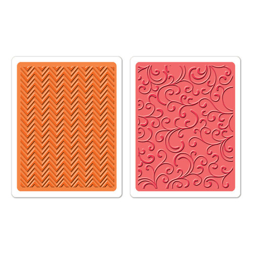 Sizzix - Textured Impressions - Hero Arts - Embossing Folders - Chevrons and Flourishes Set