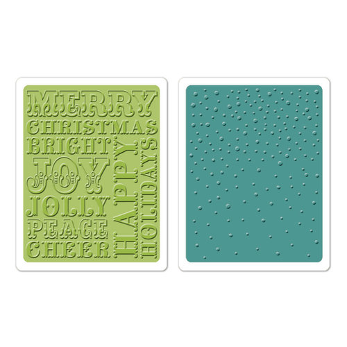 Sizzix - Textured Impressions - Hero Arts - Embossing Folders - Christmas Words and Dots Set