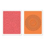 Sizzix - Textured Impressions - Hero Arts - Embossing Folders - Dot Swirl and Medallion Set
