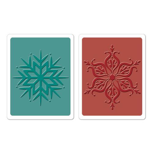 Sizzix - Textured Impressions - Hero Arts - Embossing Folders - Snowflakes Set