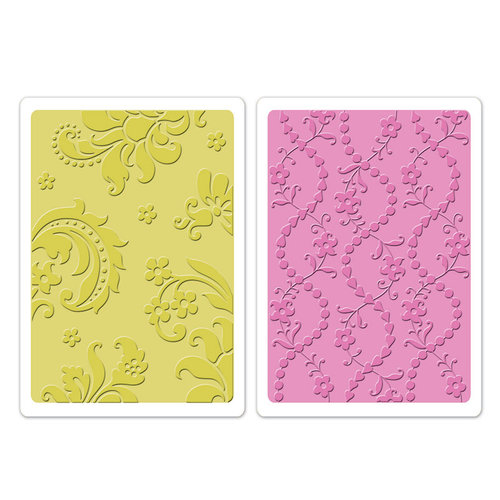 Sizzix - Textured Impressions - Embossing Folders - Damask and Beaded Floral Stripe Set