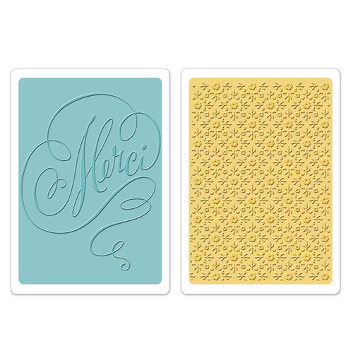 Sizzix - Textured Impressions - Embossing Folders - Merci and Printer's Ornament Set