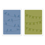 Sizzix - Textured Impressions - Embossing Folders - Birds and Banners Set