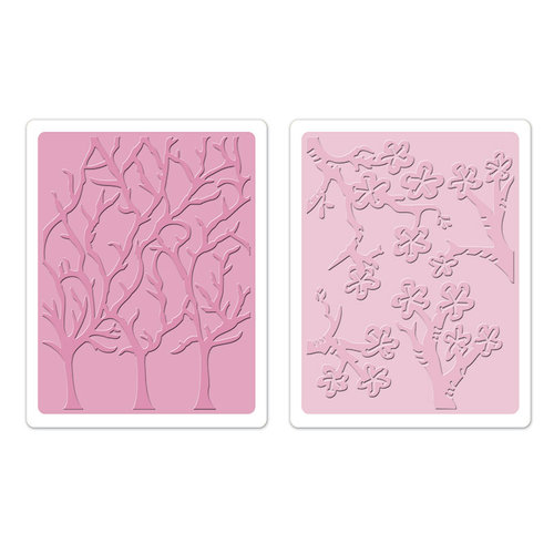 Sizzix - Susan's Garden Collection - Textured Impressions - Embossing Folders - Cherry Blossoms and Trees Set