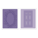 Sizzix - Susan's Garden Collection - Textured Impressions - Embossing Folders - Door and Wreath Set