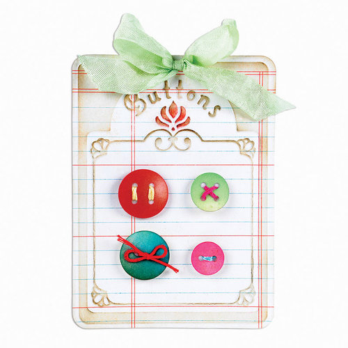 Sizzix - Antique Faire Collection - Bigz Die and Embossing Folder - Button Card