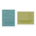 Sizzix - Antique Faire Collection - Textured Impressions - Embossing Folders - Flea Market and Hobnail Vase