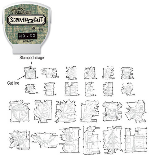 Sizzix - EClips - Tim Holtz - Alterations Collection - Electronic Shape Cutting System - Cartridge - Stamp2Cut - Number 22