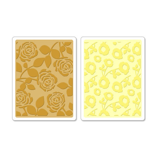 Sizzix - Textured Impressions - Embossing Folders - Pom-Poms and Roses Set