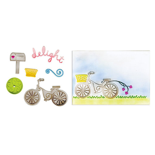 Sizzix - Framelits Die and Embossing Folders - Delightful Bicycle