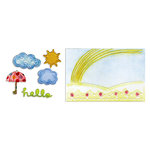 Sizzix - Framelits Die and Embossing Folders - Hello Rainbow Set