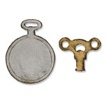 Sizzix - Tim Holtz - Alterations Collection - Movers and Shapers Die - Die Cutting Template - Mini Clock Key and Pocket Watch