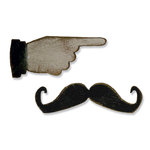 Sizzix - Tim Holtz - Alterations Collection - Movers and Shapers Die - Mini Mustache and Pointed Finger