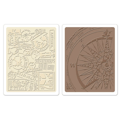 Sizzix - Tim Holtz - Alterations Collection - Texture Fades - Embossing Folders - Airmail and Compass Set