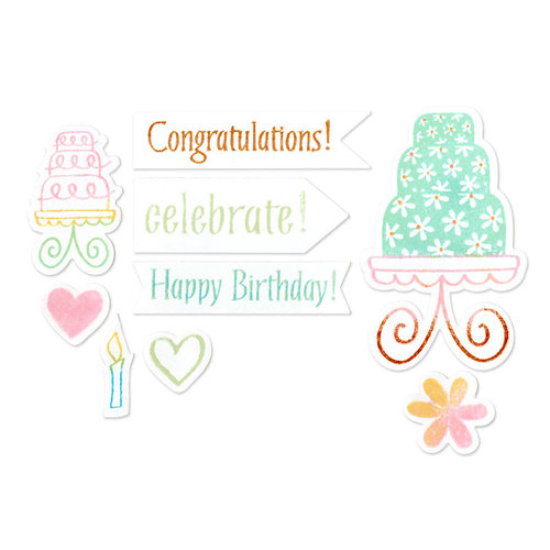 Sizzix - Framelits Die and Clear Acrylic Stamp Set - Birthday Cake