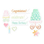 Sizzix - Framelits - Die Cutting Template and Clear Acrylic Stamp Set - Birthday Cake