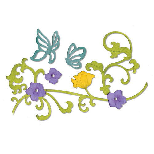 Sizzix - Thinlits Die - Butterflies and Flower Vine