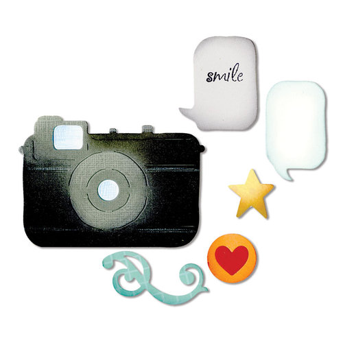 Sizzix - Thinlits Die - Die Cutting Template - Retro Camera and Icons