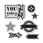 Sizzix - Echo Park - Framelits Die and Clear Acrylic Stamp Set - All About A Boy