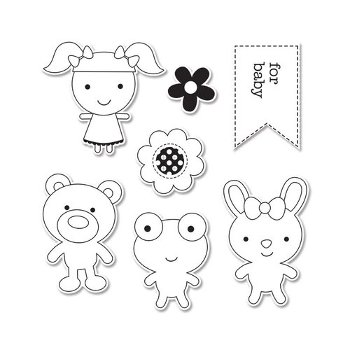 Sizzix - Doodlebug - Framelits Die and Clear Acrylic Stamp Set - Baby Girl