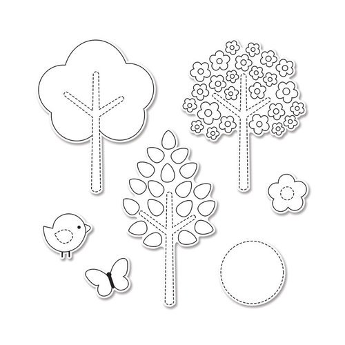 Sizzix - Doodlebug - Framelits Die and Clear Acrylic Stamp Set - Hello Spring