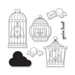 Sizzix - Doodlebug - Framelits Die and Clear Acrylic Stamp Set - Simply Tweet