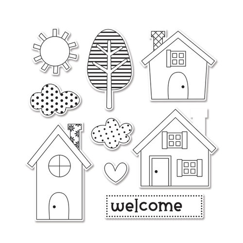 Sizzix - Doodlebug - Framelits Die and Clear Acrylic Stamp Set - Welcome Home