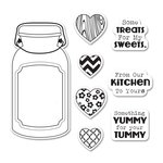 Sizzix - Jillibean Soup - Framelits Die and Clear Acrylic Stamps - Jar of Treats