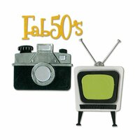 Sizzix - 1950s Collection - Thinlits Die - Retro TV, Camera and Fab 50s
