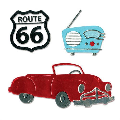 Sizzix - 1950s Collection - Thinlits Die - Vintage Car and Radio