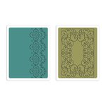Sizzix - Textured Impressions - Winter Collection - Embossing Folders - Scrolls and Lace Set