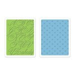 Sizzix - Favorite Things Collection - Textured Impressions - Embossing Folders - Elegant Script and Petite Floral Set