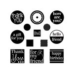 Sizzix - Framelits Die and Clear Acrylic Stamp Set - Friendly Phrases