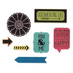 Sizzix - Echo Park - Framelits Die and Clear Acrylic Stamps - Everyday
