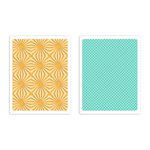 Sizzix - Vintage Kitchen Collection - Textured Impressions - Embossing Folders - Sunburst and Waffle Set