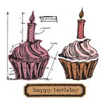 Sizzix - Tim Holtz - Alterations Collection - Framelits Dies and Repositionable Rubber Stamps - Birthday Blueprint