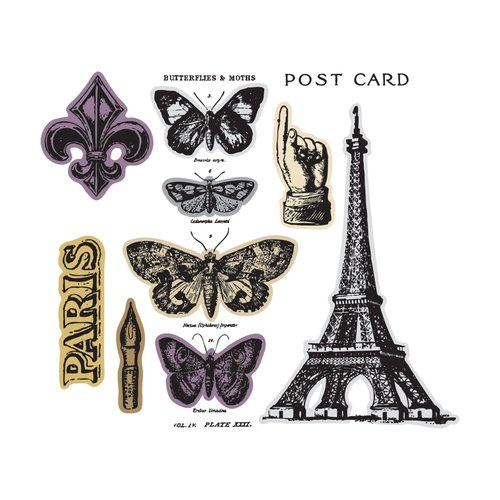 Sizzix - Tim Holtz - Alterations Collection - Framelits Dies and Repositionable Rubber Stamps - French Flight