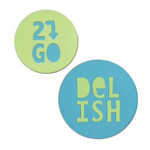 Sizzix - Where Women Cook Collection - Bigz Die - Jar Lid Phrases, Delish and 2 Go