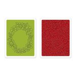 Sizzix - Textured Impressions - Homegrown and Handmade Collection - Embossing Folders - Wreath and Flowers Set