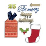 Sizzix - BasicGrey - 25th and Pine Collection - Christmas - Thinlits Die - Stocking and Tag