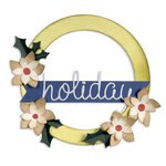 Sizzix - BasicGrey - 25th and Pine Collection - Christmas - Bigz L Die - Wreath, Banner, Holly and Poinsettia