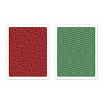 Sizzix - BasicGrey - Textured Impressions - 25th and Pine Collection - Christmas - Embossing Folders - Holly Circle Set