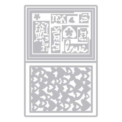 Sizzix - Framelits Die - Card with Lovely Sentiments Drop-ins