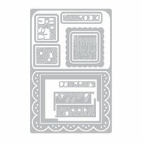 Sizzix - Framelits Die - Card, Scallop with Banners and Greetings Drop-ins
