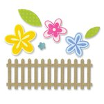 Sizzix - Framelits Die with Clear Acrylic Stamp Set - Flowers and Fence