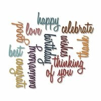 Sizzix - Tim Holtz - Alterations Collection - Thinlits Die - Script Celebration Words