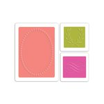 Sizzix - Favorite Things Collection - Textured Impressions - Embossing Folders - Flourish, Wreath and Oval Frame Set