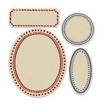 Sizzix - French General Collection - Framelits Die with Clear Acrylic Stamp Set - Labels