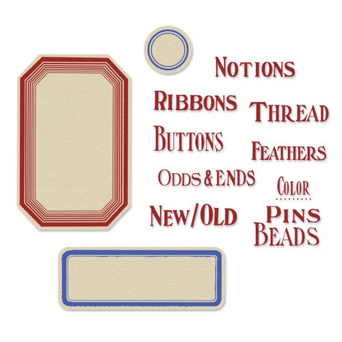 Sizzix - French General Collection - Framelits Die with Clear Acrylic Stamp Set - Sewing Words